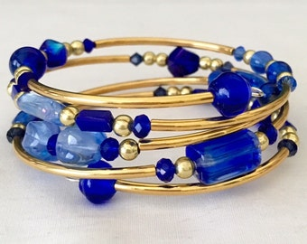 Blue and Gold Memory Wire Wrap Bracelet