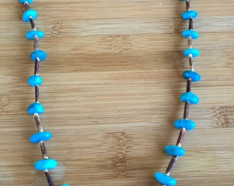 Turquoise, wood and shells necklace