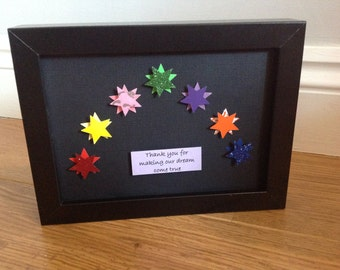 Rainbow of stars framed picture. Social worker thank you gift.