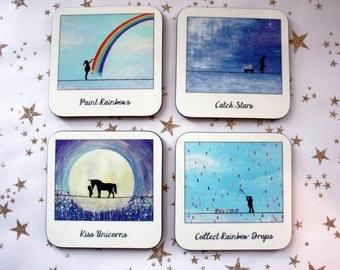 SALE*** Set of 4 Assorted Capture a Dream Polaroid Coasters