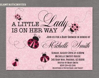 Ladybug Baby Shower Invitation, Little Ladybug Invitation, Girl Baby Shower Invitation, Ladybug Invitation, Pink Invitation, Baby Shower
