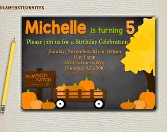 Pumpkin Patch Birthday Invitation, Fall Birthday Invitation, Pumpkin Invitation, Birthday Invitation, Chalkboard, Pumpkin Patch, Printable