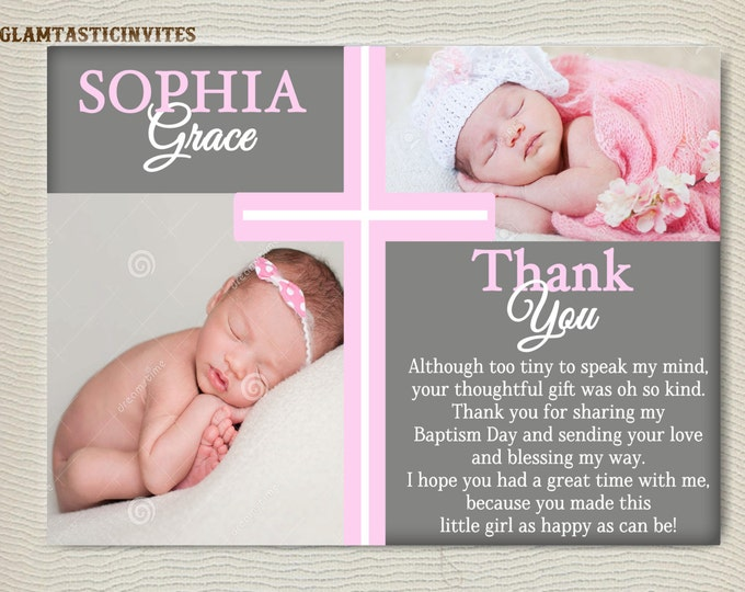 Baptism Thank You Girl, Baptism Thank You Printable, Girl Baptism Thank You, Printable Communion Thank You, Party Invite Girl, Religious