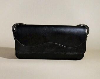Vintage Black Leather Bag, Shoulderbag