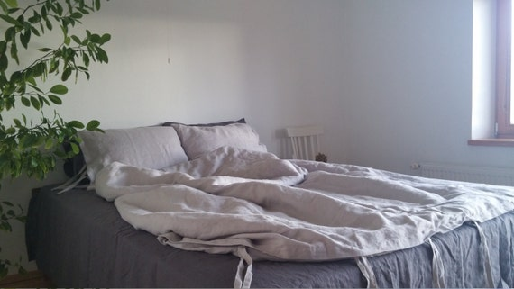 light grey duvet cover with ties closure softened by flaxbox. Black Bedroom Furniture Sets. Home Design Ideas