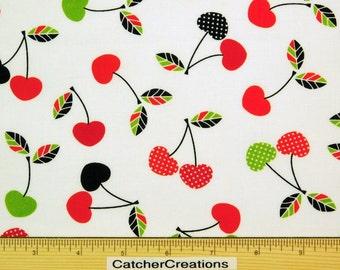 Robert Kaufman, Lets Eat, Cherries Bright, Cherry, Kona Cotton, Food, Kitchen Fabric, Cynthia Frenette, By the yard, CK-15689-195