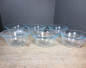 Six Vintage FIRE KING Sapphire Blue Oven Glass Philbe Pattern Custard Cups