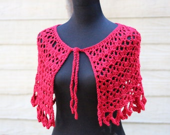 Red Capelet - crocheted