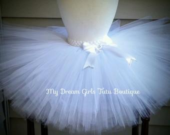 White flower girl tutu, white wedding tutu, flower girl skirt, white tutu for wedding, wedding tutu for baby, white tutu, tutu for baptism