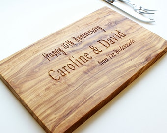 Personalized Engraved Italian Olive Wood Cheese Board - available in three sizes