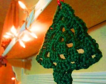 Christmas Tree Ornament, crocheted ornament, Christmas tree, green tree ornament