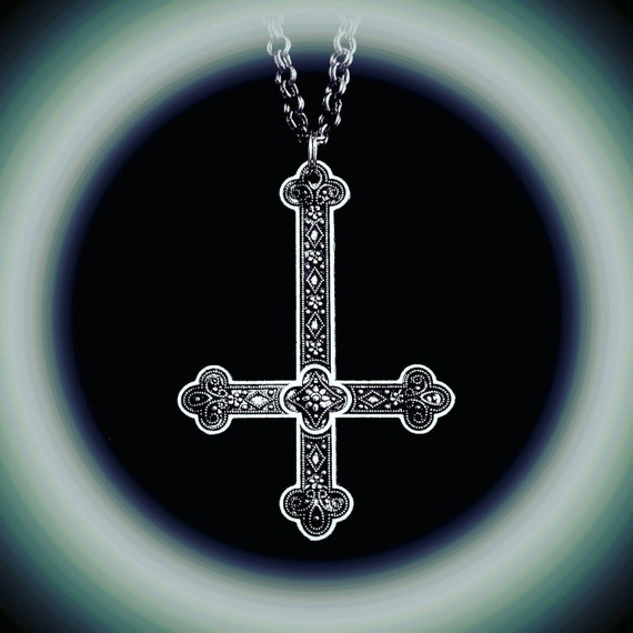 INVERTED CROSS necklace, gothic jewelry, satanic, upside-down cross, unholy, satanic jewelry, occult, rococo, ornate cross, astaroth, belial