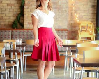 Oxford Skirt in Crimson Red