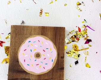 "Pink Sprinkled Donut - 6"" Square"