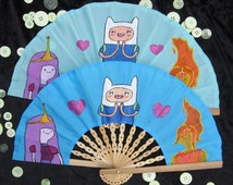 Adventure Time - Jake Princess Bubblegum Flame Princess - Cartoon Network - large hand painted hand folding hand fan