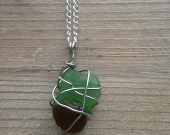 Wire Wrapped Emerald Green and Rust Brown Glass Necklace