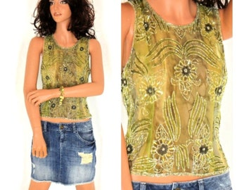 Silk beaded camisole, size S, silk sheer green top, embroidered beaded boho Indie cami,  SunnyBohoVintage
