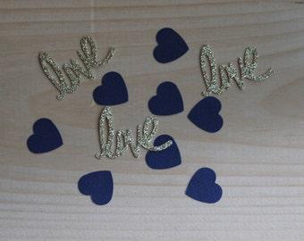 Love Confetti, Heart Confetti, Navy Gold Wedding, Confetti Table Decoration, Navy Gold Confetti, Gold Navy Party Decoration