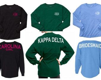 Custom Spirit Jersey - Spirit Shirt - Multiple Colors - Custom Design - Long Sleeve Shirt - Monogram Spirit Jersey - Pom Pom Jersey