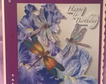 large 3D iris and dragonfly female birthday card,suitable for female friends and female family members (mum,daughter,grandma,auntie etc)