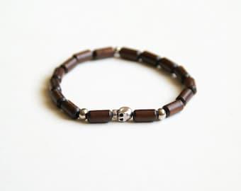 Men's Skull & Wood Bracelet