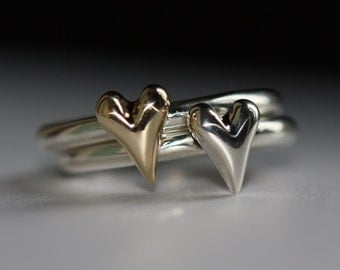 Handmade Solid Gold Heart & Silver Ring Band