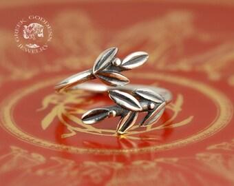 olive leaves silver ring, olive leaf ring, leaf ring, greek ring, greek jewelry, olive leaf, olive leaf silver, leaf jewelry, leaf silver