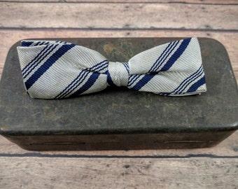 Vintage Clip On Bow Tie-Retro Bow Tie-Royal Clip On-Striped Bow Tie-Royal Rust Resistant