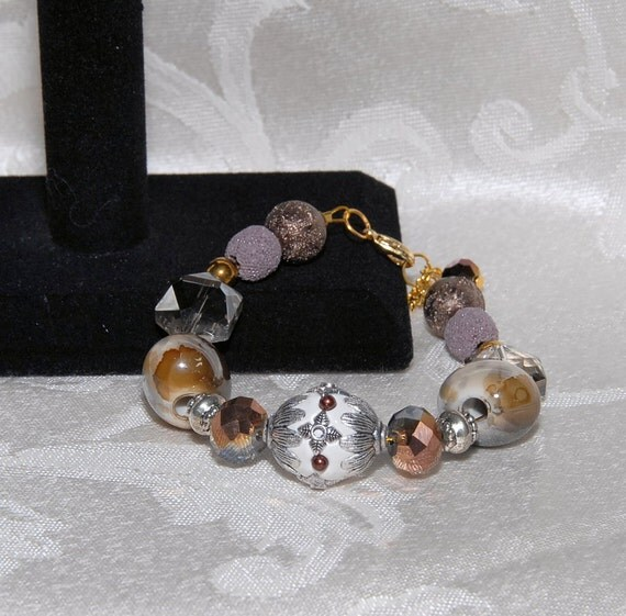 Amber, Copper & Taupe Bracelet for Aromatherapy with 2 Lava Stone Beads for Essential Oils. Some Jesse James Beads for Stunning Style. AB068