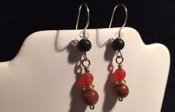 Sterling Silver, Red Goldstone, Dragon Vein Agate, Earrings with Lava Stone Bead for Essential Oil Aromatherapy