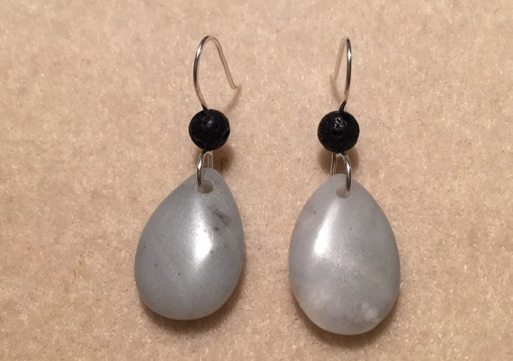 Sterling Silver Amazonite Gemstone Earrings with Lava Stone Beads for Essential Oil Aromatherapy. Matching Necklace Available.