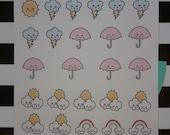 Weather Stickers - Kawaii - planner stickers