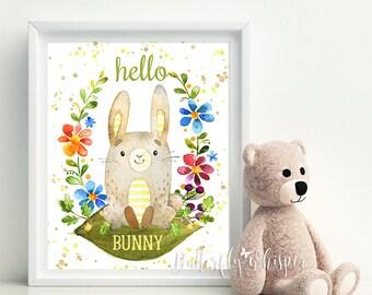 Hello Bunny nursery and kids room illustration printable, Nursery wall art decor,  Nursery gift idea, Kidsroom wall art, playroom decoration