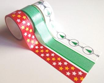 Washi Christmas tape 3 rolls set for Christmas