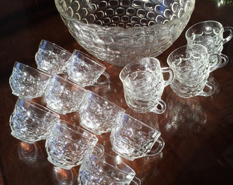 Federal Glass Jubilee Thumbprint Large Punch Bowl W/21 Federal Glass Jubilee Thumbprint Punch Bowl Cups