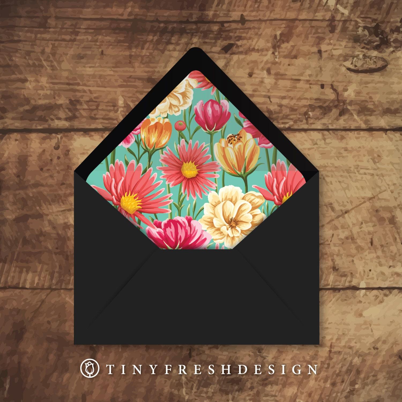 printable custom envelope liner template pattern floral. Black Bedroom Furniture Sets. Home Design Ideas