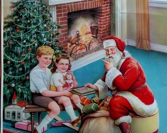 1950's Santa and Children Christmas Poster/Advertising Candy