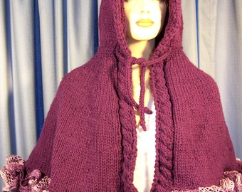 Deep Purple cape with hood and ruffles hand knitted
