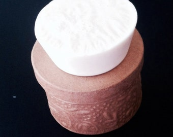 Dye Free Coconut Rose Scented Goat's Milk, Circular Shaped, 4 oz of Soap, Ready to Ship, Scented Soap
