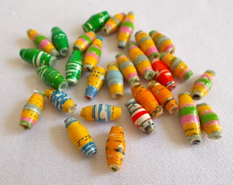 African Dodo Recycled Paper Beads 1cm 30 pack - Fair Trade from Mzuribeads Uganda