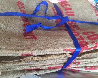 Bundle of 10 Vintage Burlap Sacks SUPERGROW Mung Beans,  New, Seed, sack, burlap feed sack
