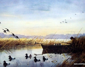 Les Kouba Bills in the Blocks Signed Duck Hunting Print