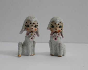 Very RARE Large Sugar Glazed-Spaghetti- Arnart Pair of Japan Lambs with Rhinestone Jewels
