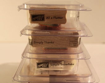 Stampin Up stamp Sets-Retired-wood mount-group-lot-simply thanks-all a flutter-simple snowflake-Hello Again-Butterfly