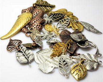 30g Leaf Tibetan Charms and Pendants - Random Mix