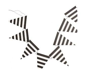Black and white mini pennant banner. 8'. Black & white triangle bunting. Black pennant garland. Black and white triangle banner.