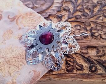 silver flower steampunk hairpin red tigerseye