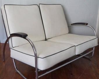 Amazing Bauhaus Art Deco Mid-Century Settee / Loveseat in Chrome & Vinyl - Wonderful Size and Amazing Condition!