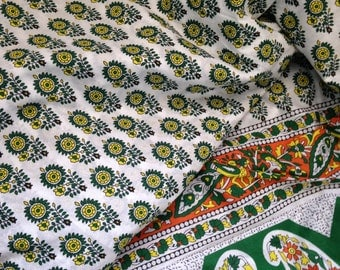 Pure Cotton, Paisley Border, Indian Fabric, Block Print,Green and Yellow,All over Butta,White,By the Yard,floral print, paisley print