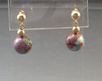 Chinese Lavender Cloisonne Gold Filled Dangle Earrings